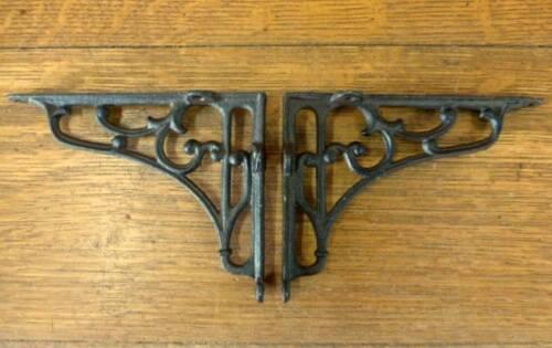 2 MEDIUM BROWN ANTIQUE STYLE 6.5 SHELF BRACKETS CAST IRON rustic garden SCROLL
