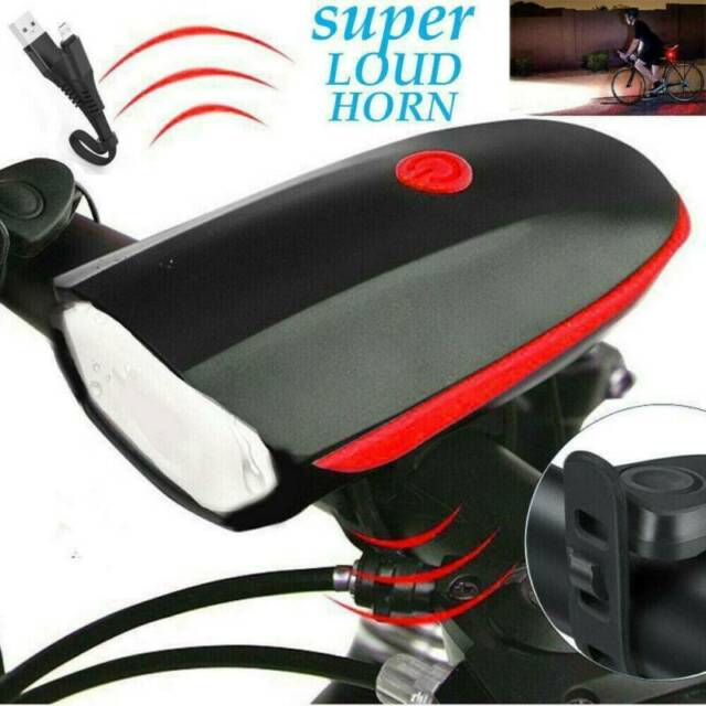 Rechargeable USB LED Bicycle Headlight Bike Light Front Lamp Cycling Horn Tool