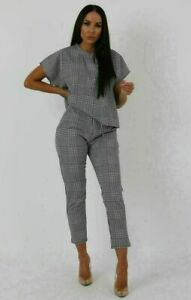 Womens Short Sleeve Check Boxy Suit Children Lounge Wear Set Two Piece Tracksuit