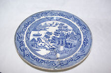 Antique Blue Willow Transfer Pottery Warming Plate Swansea