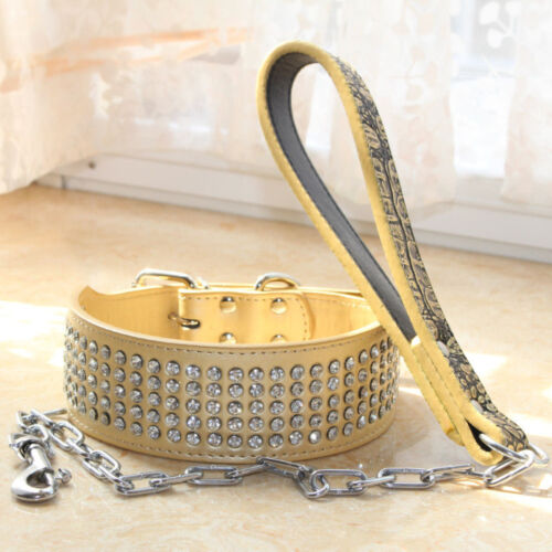 Dog Chain Leash Lead set 5 Rows Bling Rhinestone Jeweled Leather Dog Collar