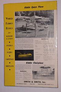 VINTAGE 1950s KIDDIE SPACE PLANE ADVERTISING POSTER! CARNIVAL RIDE! CHAIRPLANE!