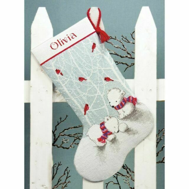 NEW Dimensions Crafts Counted Cross Stitch Stocking Snow Bears 16 Inch