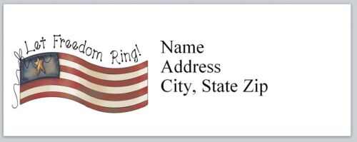 Personalized Address Labels US Flag Let Freedom RIng Buy 3 get 1 free P 492