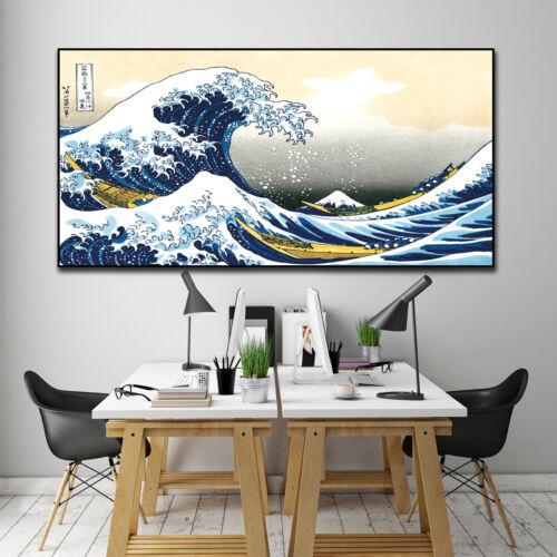Poster Banner Vintage Japan Japanese Hokusai Ukiyo e Great Wave off Kanagawa