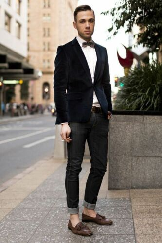 nuziale Groomsman da da cerimonia velluto formale in nero uomo Giacca 6pwTHzqZ