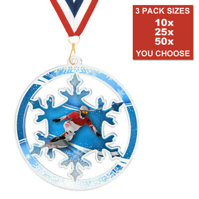 DOG SHOW PAW PRINT ACRYLIC MEDAL 50mm-70mm PACK OF 10 WITH RIBBONS BULK DEALS