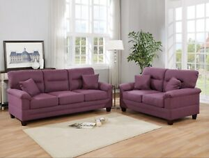 Prime Details About Warm Purple Linen Fabric Cushion Sofa And Loveseat 2Pc Sofa Set Classy Couch Bralicious Painted Fabric Chair Ideas Braliciousco