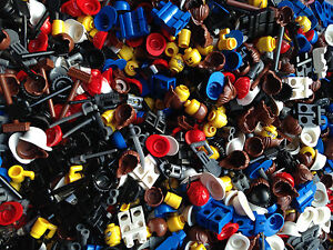 LEGO-100-Pieces-Random-Mix-Accessories-Hair-Tools-Weapons-Hats-Visors-Legs-Heads