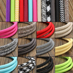 1-2-3-5-10M-Vintage-Coloured-Braided-ROUND-2Core-Fabric-Lighting-Flex-Cable