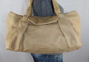ANN-TAYLOR-Large-Tan-Leather-Shoulder-Hobo-Tote-Satchel-Slouch-Purse-Bag