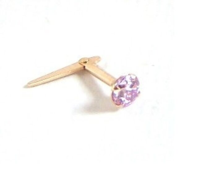 1660fb866 9ct Gold Andralok 3mm Round PALE LIGHT LILAC CZ NOSE STUD PIN B'Day Mums