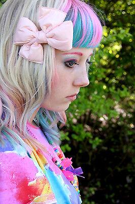 LIGHT PINK PADDED BOW HAIR CLIP - EMO SCENE GOTH LOLITA KAWAII