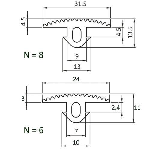 Typ I verschiedene Farben 1 m Abdeckprofil NBR Nut 6//8