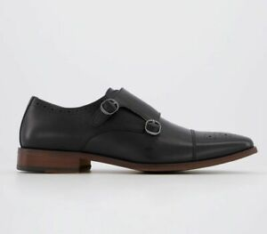 Zapatos-para-Hombre-Monje-Oficina-Marcus-Negro-Cuero-Zapatos-Formales