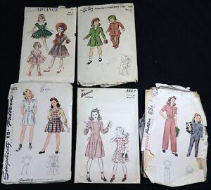 #12 MIXED LOT 5 Vtg 1940s 1950s Dress Pajamas Coat SEWING PATTERNS Girl Size 6-8