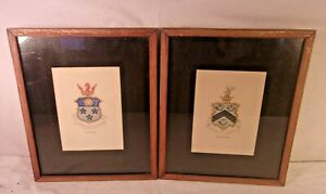 """United Pair Antique Framed Family Crest 9 1/2 X 11 1/2 Holds 9x11 Molding 1/2"""" Picture Frames"""