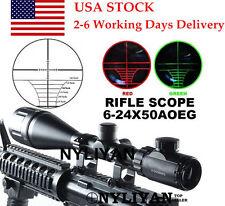 US  Illuminated 6-24x50AOEG Red/Green Rangefinder Optic Scope Sight for Rifle
