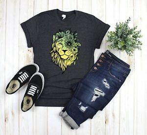 Womens-Lion-Head-Graphic-T-Shirt-Gray-Yellow-Green-Floral-Boho