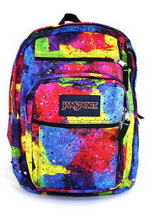 New JanSport Big Student Backpack Multi Neon Galaxy Book Bag ...