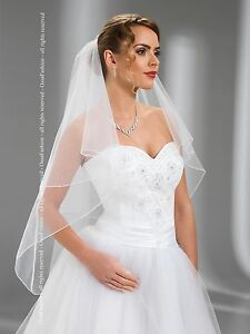 2-Tier-Pencil-Edge-Wedding-Fingertip-Veil-With-Comb-Attached-W-74