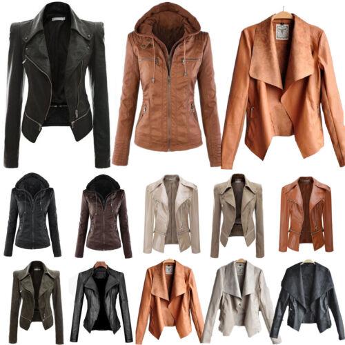 Women Punk Slim Biker Motorcycle Short Jacket PU Leather Coat Outwear Winter