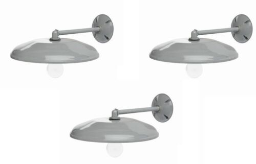 "3 Designers Edge L1711 12/"" Round Gray Downward Barn Yard Lights w// Mounting Arm"