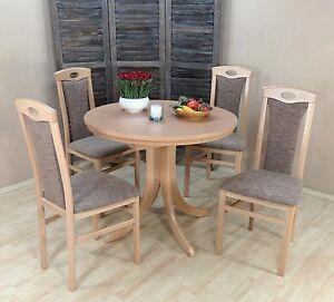 Tischgruppe Buche Massiv Natur Cappuccino Tisch Rund Stühle Günstig