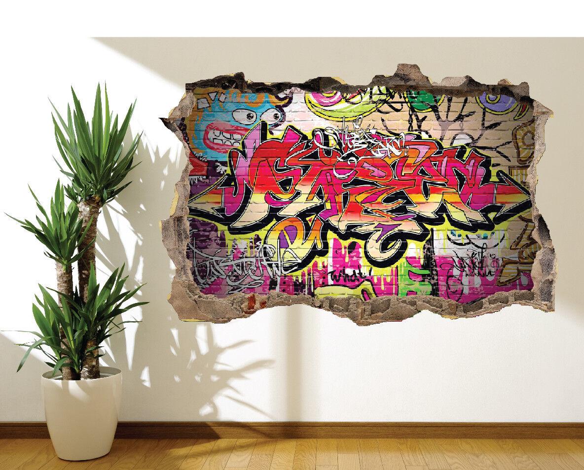 Super Cool Graffiti Mattone Adesivo da Parete Murale Cameretta Bambini