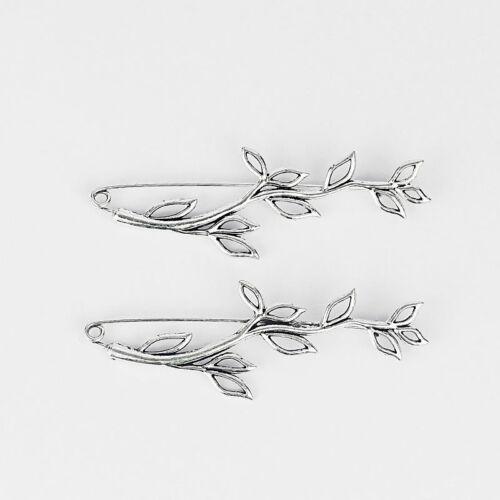 5pcs Silver Leaf Leaves Branch Burgeon Safety Brooch Pin for Kilt Scarf Shawl