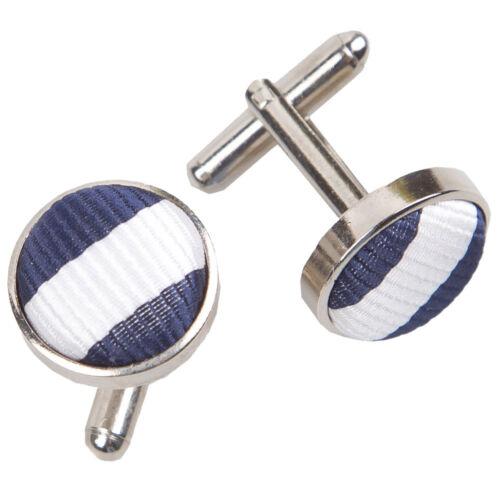Tela de latón DQT Incrustación Gemelos finas rayas en blanco y azul Marino Para hombre Gemelos