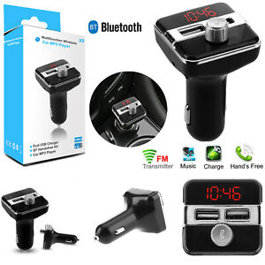 Car-Charger-Twin-Port-USB-FM-Transmitter-Bluetooth-Wireless-AUX-MP3-HandFree-Kit