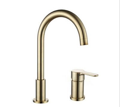 Modern Luxury Kitchen Sink Tap Hot and Cold Mixer Faucet Brushed Brass Gold NEW