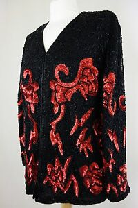 FRANK USHER Black / Red SEQUIN Glam Silk PARTY Deco DISCO Beaded Top Size M