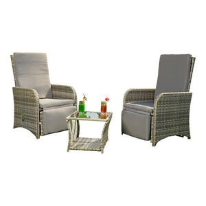 2er garten sessel beistelltisch polyrattan grau gartenm bel sitzgruppe lounge ebay. Black Bedroom Furniture Sets. Home Design Ideas