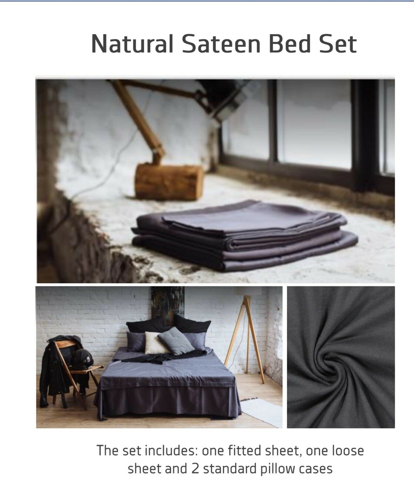 Natural Sateen HandMade Bed Set   TWIN Fitted Flat Sheet 395514   6696