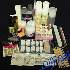 Professional-Nail-Art-Acrylic-Primer-Powder-Liquid-Tips-Practice-Tool-Full-Kit