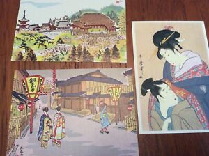 Collectible-Japanese-Kyoto-postcards-with-artistic-drawings-set-of-3