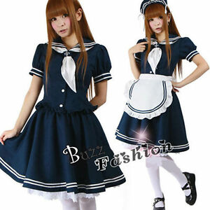 Lolita-Japanese-School-Girl-Uniform-Cosplay-Verkleidung-Kostueme-Maid-Kleid-blau