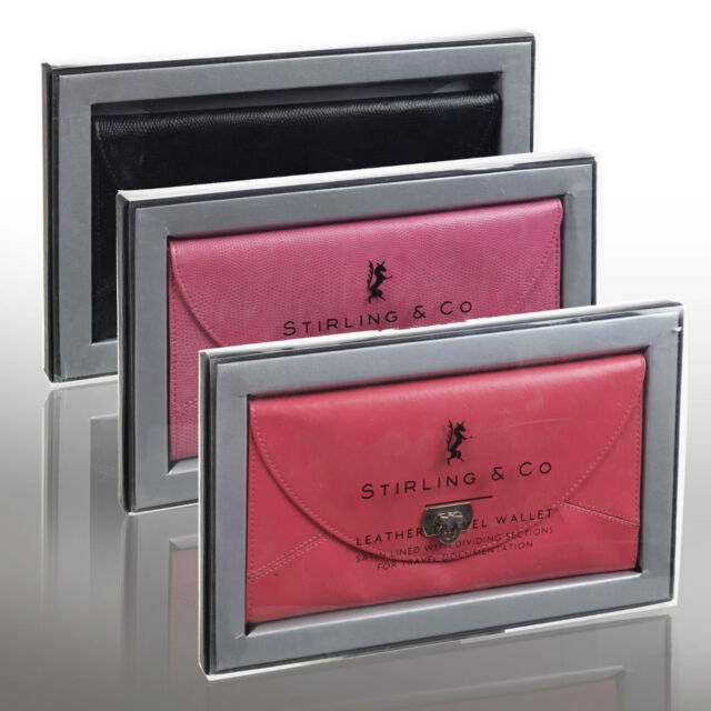 Stirling & Co Real Leather Travel Wallet Documents Passport Holder Gift Boxed