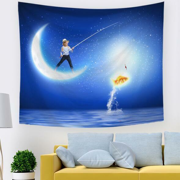 3D Moon Boy Fishing A605 Tapestry Hanging Cloth Hang Wallpaper Mural Photo Zoe
