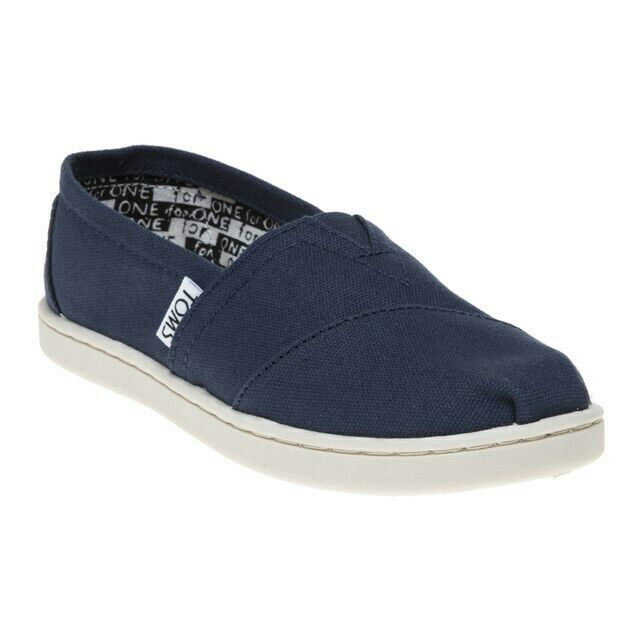 Toms Classic Canvas Navy Kids Trainers