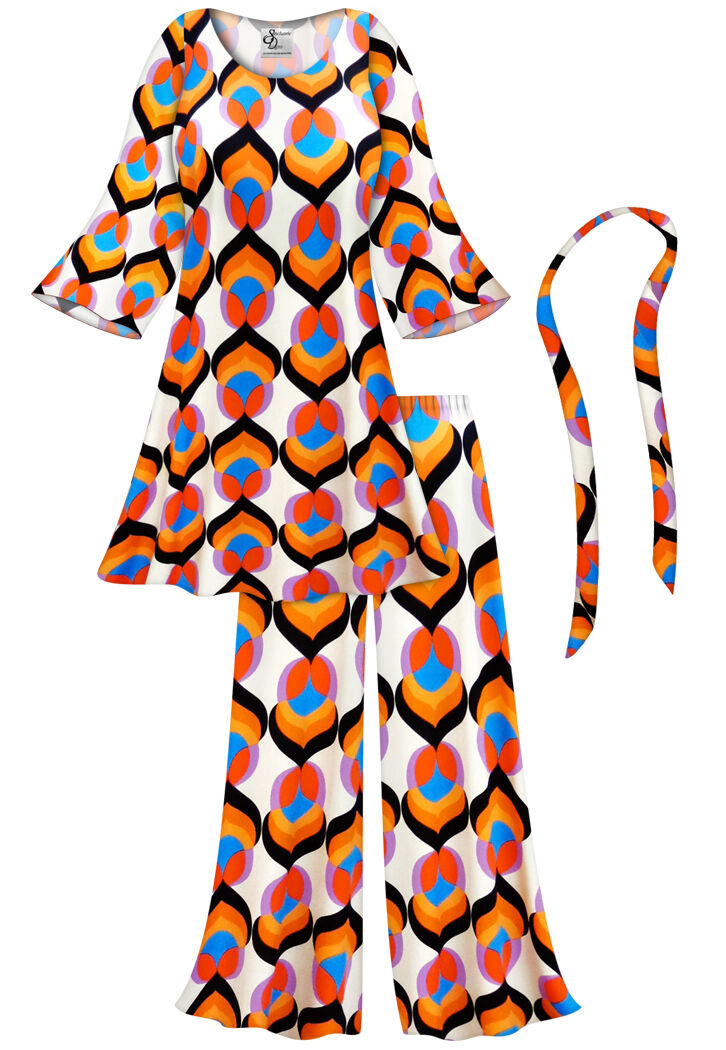 Lotus Print Hippie PLUS Größe Halloween Costume Top & Pant Set 0x to 9x