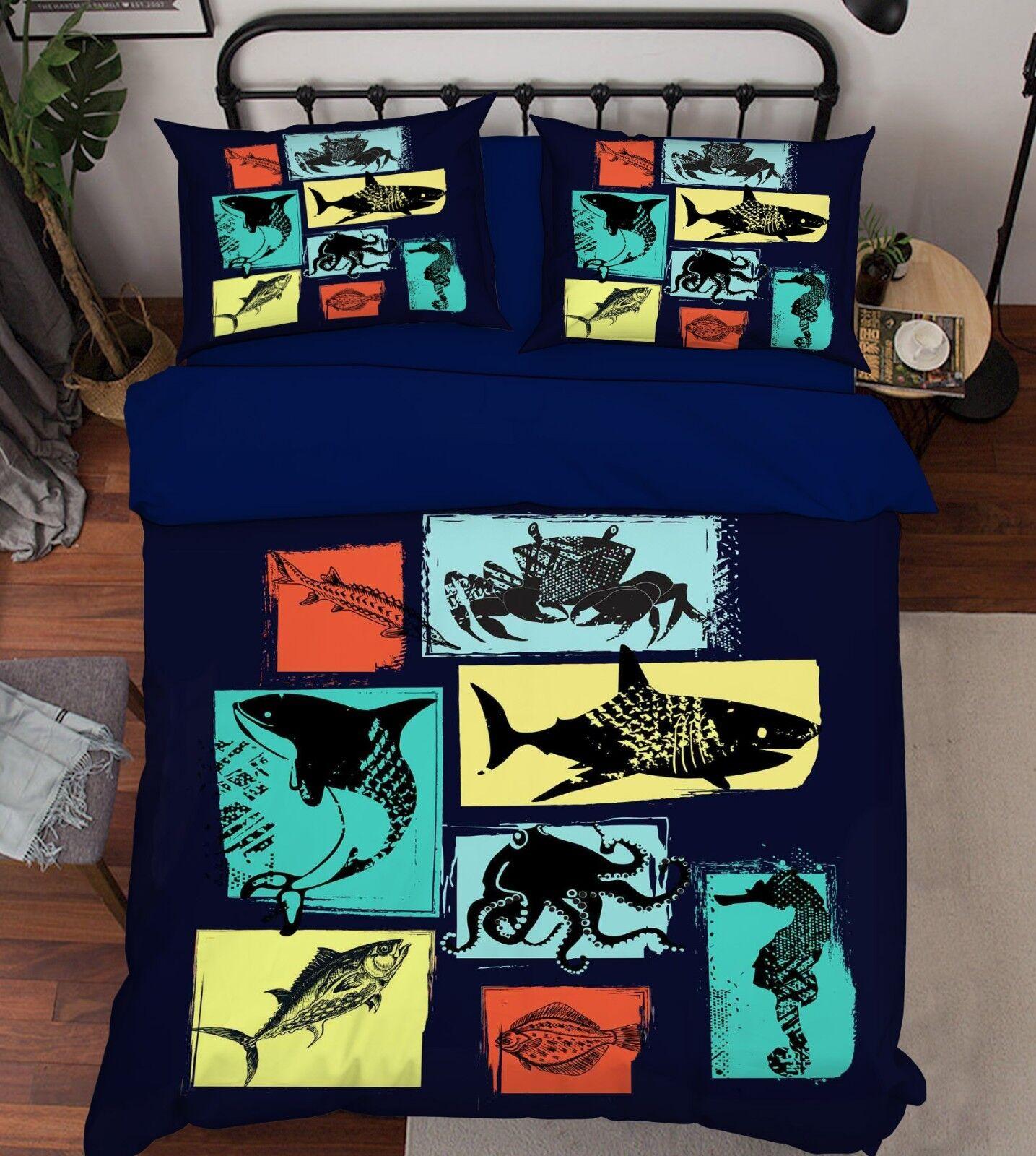 3D Cute Fish 131 Bed Pillowcases Quilt Duvet Cover Set Single Queen King Size AU
