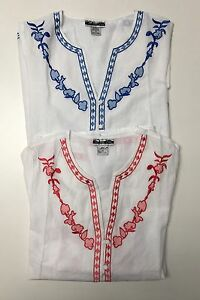 100-Cotton-White-Embroidered-Split-Neck-Long-Sleeves-Tunic-NWT-Missy-S-M-L-XL