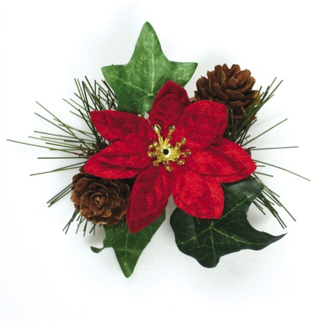 Christmas Miniature Holly Poinsettia Berries Stems Favour Cake Decoration Topper