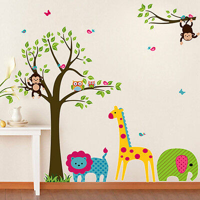 Animal Tree Monkey Wall Sticker Decals Vinyl Mural Kids Nursery Baby Decor ku1
