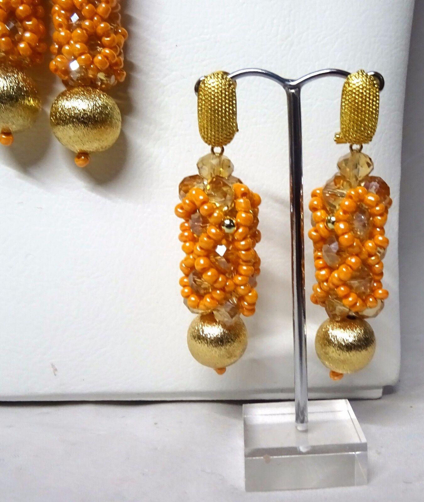 Prestigeapplause arancione e oro oro oro africano Perline Gioielli Da Sposa Festa Matrimonio Set 7341ef