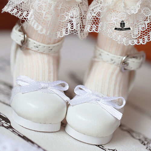 1//6 BJD Shoes Yosd Lolita lace bow white Shoes Dollfie Luts AOD DIM DOD Dollmore