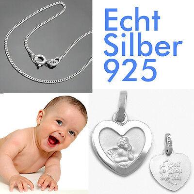 Kette 36 cm Echt Silber 925 Neu moderner Baby und Kinder Schutz Engel mit Hals